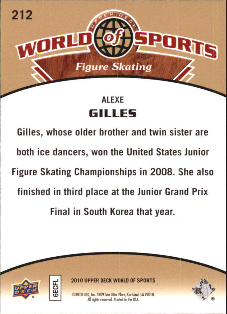 2010 Upper Deck World of Sports #212 Alexe Gilles back image