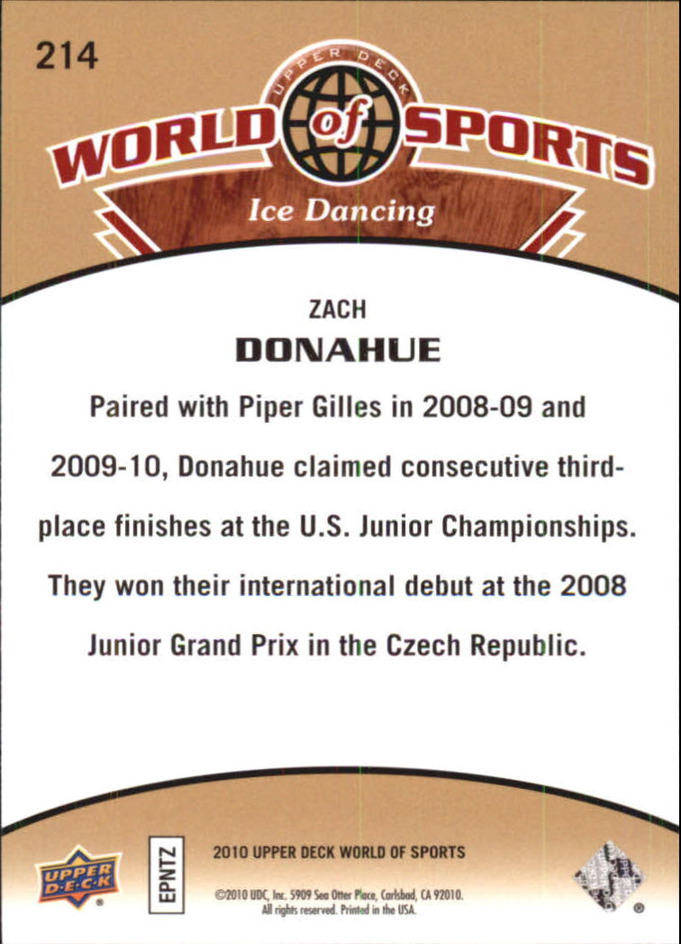2010 Upper Deck World of Sports #214 Zach Donahue back image