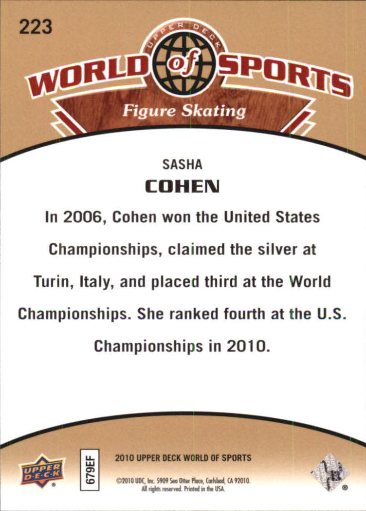 2010 Upper Deck World of Sports #223 Sasha Cohen back image