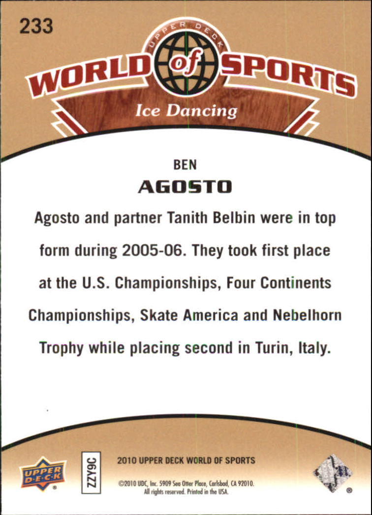 2010 Upper Deck World of Sports #233 Ben Agosto back image