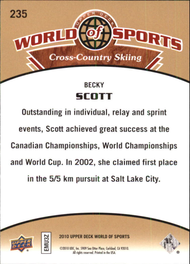 2010 Upper Deck World of Sports #235 Becky Scott back image