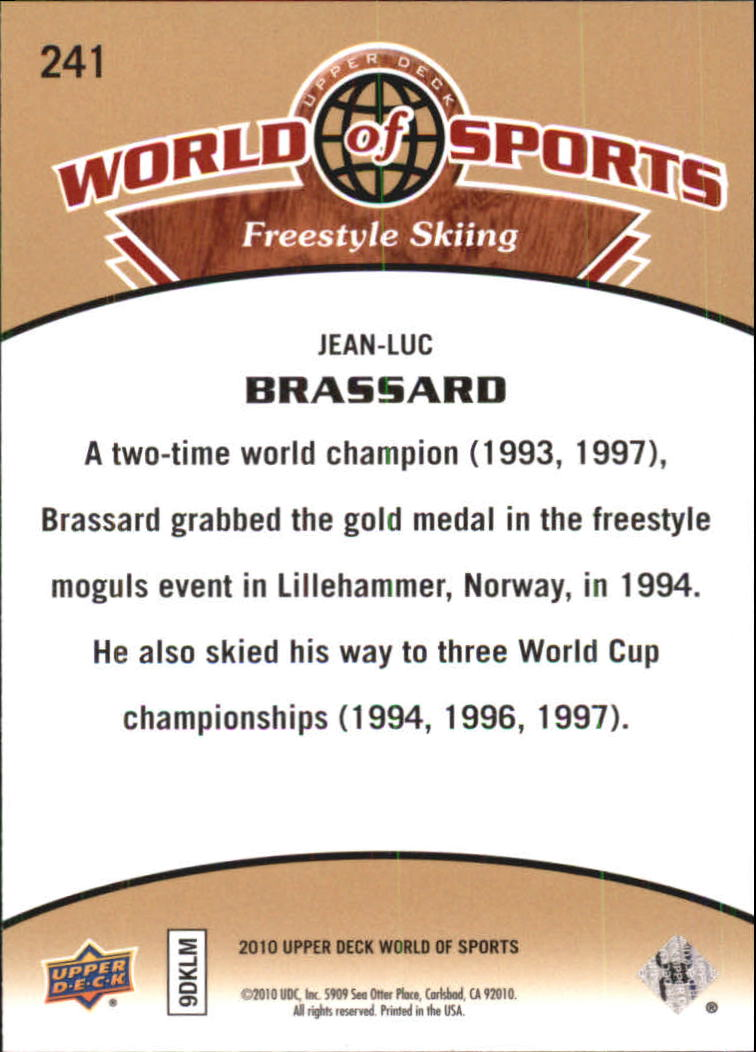 2010 Upper Deck World of Sports #241 Jean Luc Brassard back image