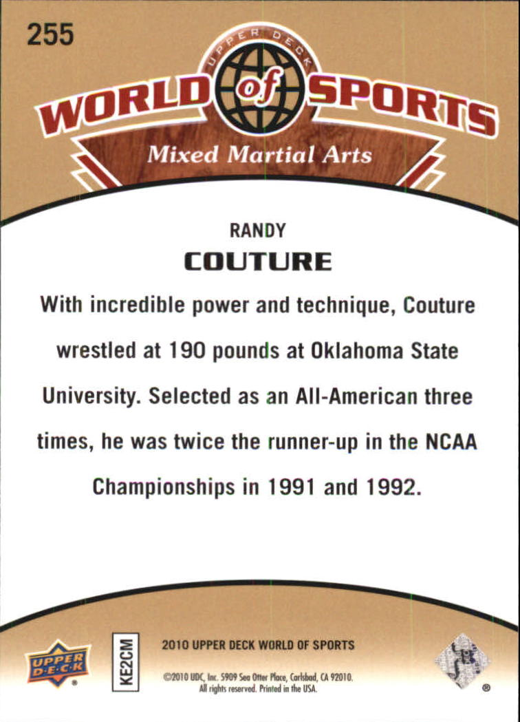 2010 Upper Deck World of Sports #255 Randy Couture back image