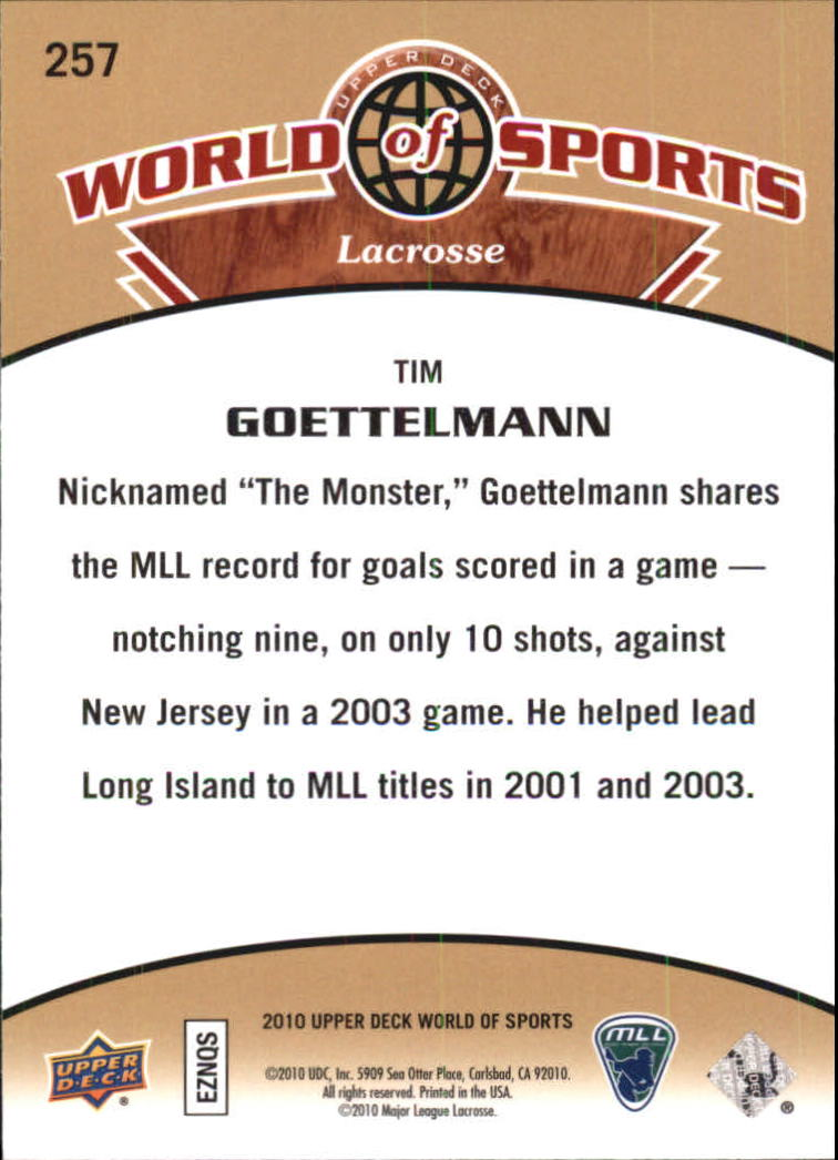 2010 Upper Deck World of Sports #257 Tim Goettelmann back image