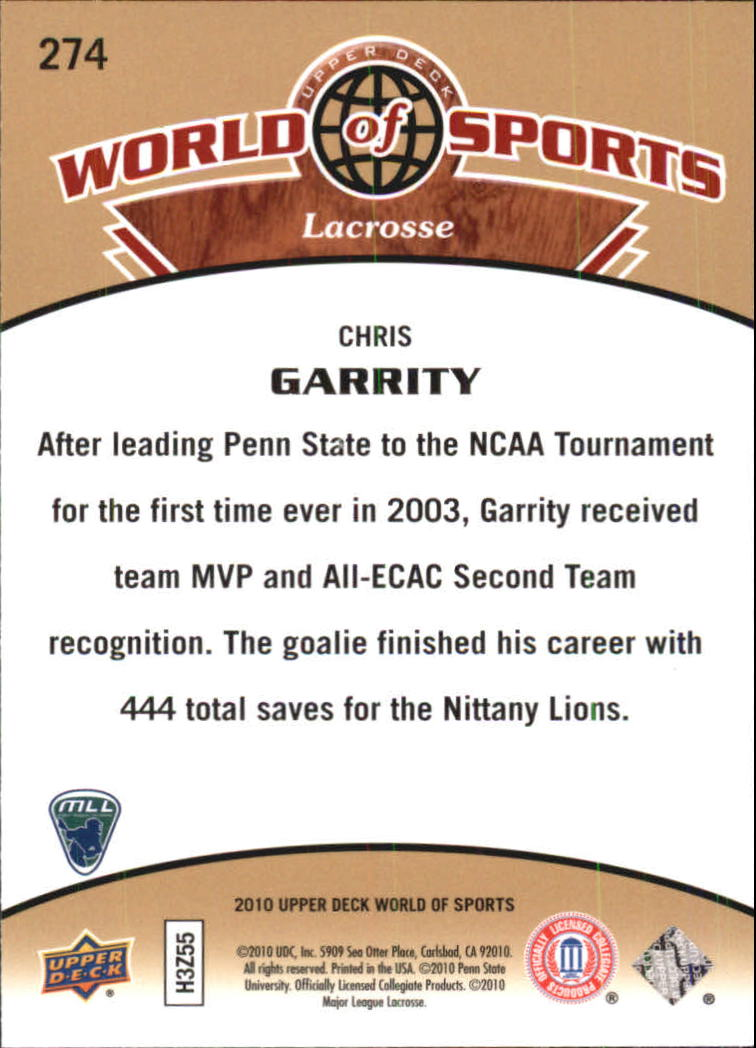 2010 Upper Deck World of Sports #274 Chris Garrity back image