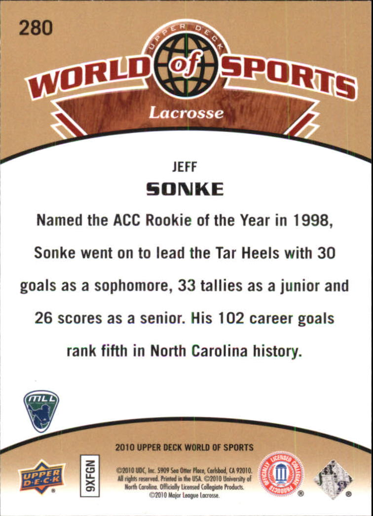 2010 Upper Deck World of Sports #280 Jeff Sonke back image