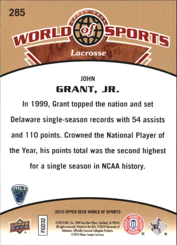 2010 Upper Deck World of Sports #285 John Grant Jr. back image