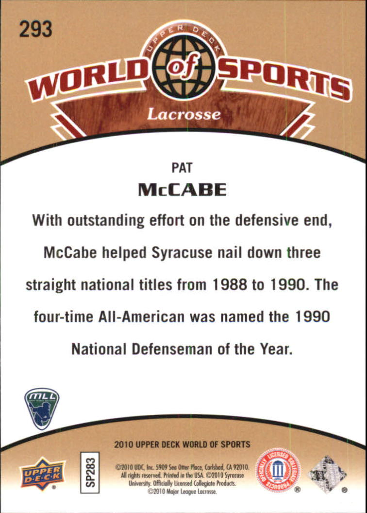 2010 Upper Deck World of Sports #293 Pat McCabe back image