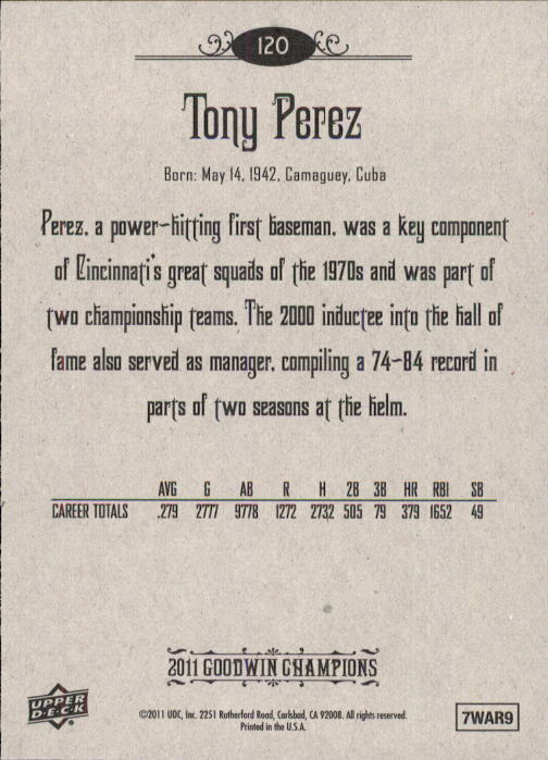 2011 Upper Deck Goodwin Champions #120 Tony Perez back image
