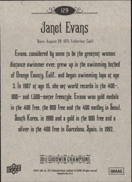 2011 Upper Deck Goodwin Champions #129 Janet Evans back image