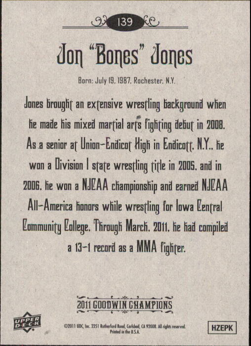 2011 Upper Deck Goodwin Champions #139 Jon Bones Jones back image
