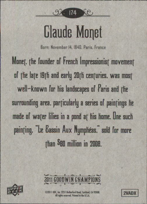 2011 Upper Deck Goodwin Champions #174 Claude Monet SP back image