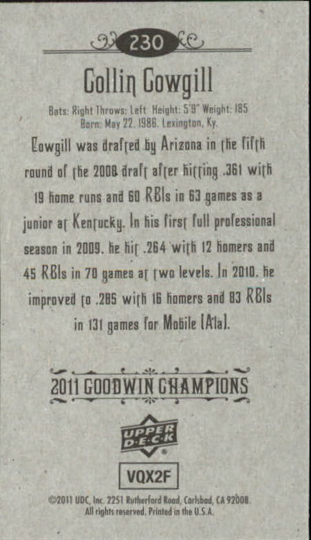 2011 Upper Deck Goodwin Champions Mini #230 Collin Cowgill SP