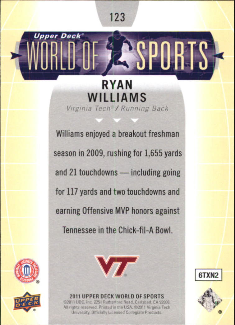 2011 Upper Deck World of Sports #123 Ryan Williams back image