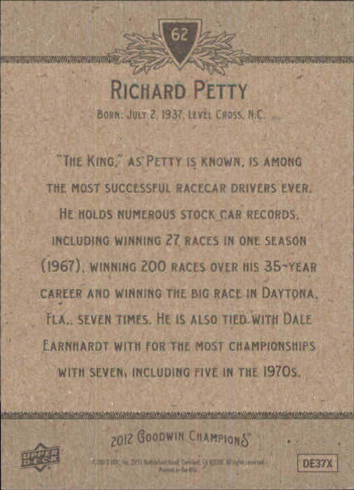 2012 Upper Deck Goodwin Champions #62 Richard Petty back image