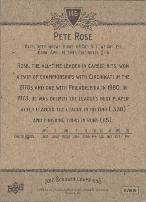 2012 Upper Deck Goodwin Champions #145A Pete Rose back image