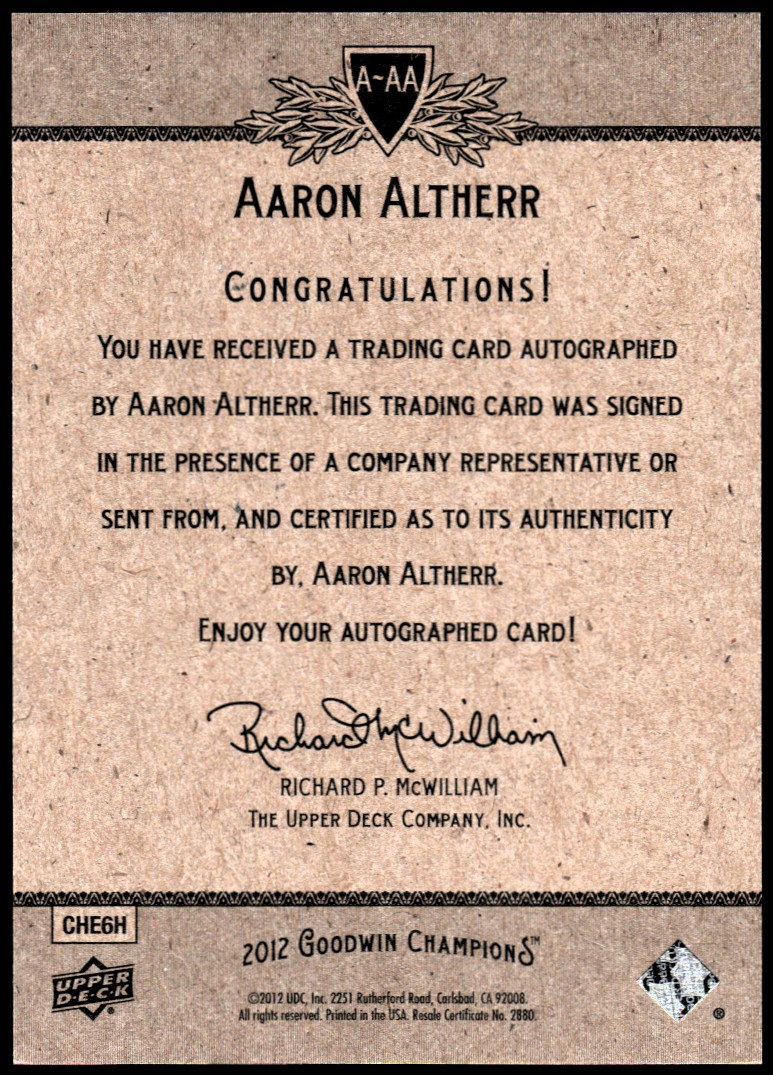 2012 Upper Deck Goodwin Champions Autographs #AAA Aaron Altherr F