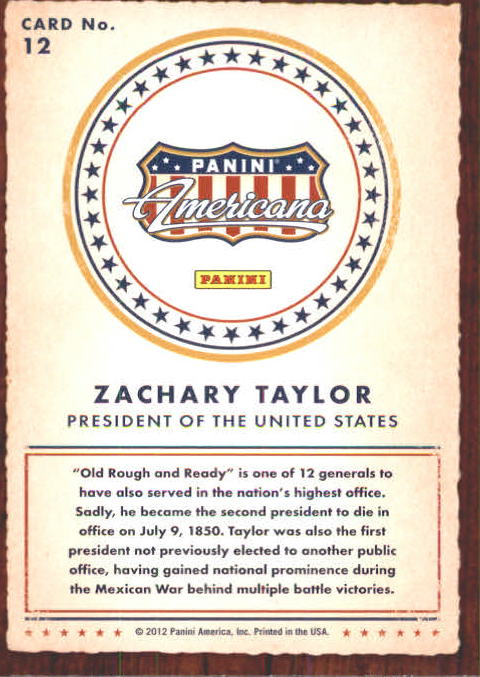 2012 Americana Heroes and Legends #12 Zachary Taylor