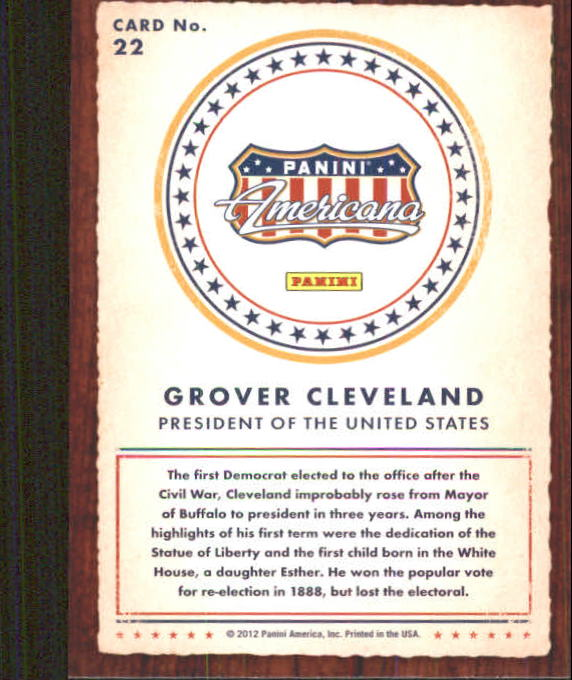 2012 Americana Heroes and Legends #22 Grover Cleveland back image