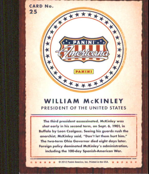 2012 Americana Heroes and Legends #25 William McKinley back image