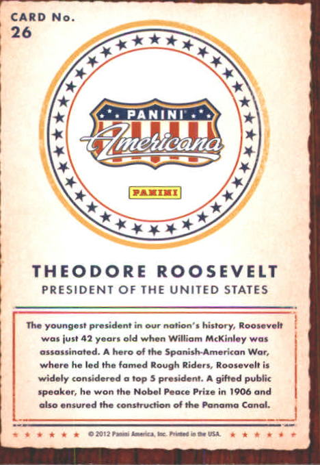2012 Americana Heroes and Legends #26 Theodore Roosevelt back image
