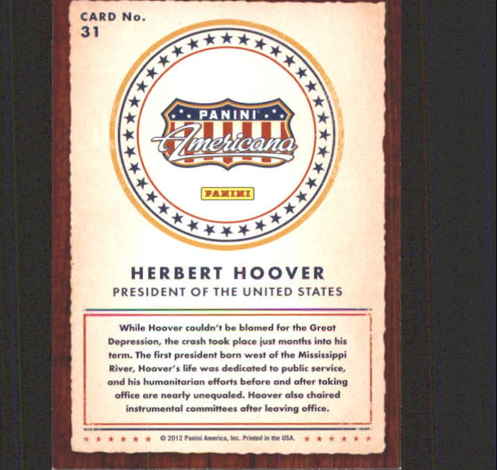 2012 Americana Heroes and Legends #31 Herbert Hoover back image