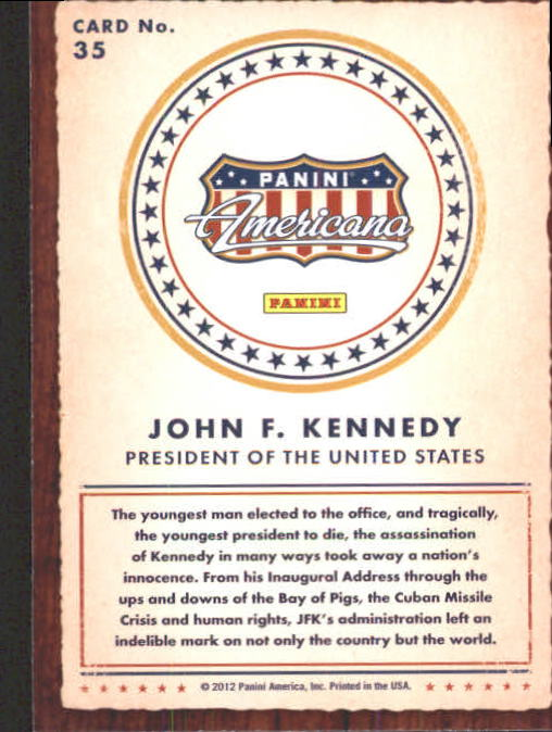 2012 Americana Heroes and Legends #35 John F. Kennedy back image