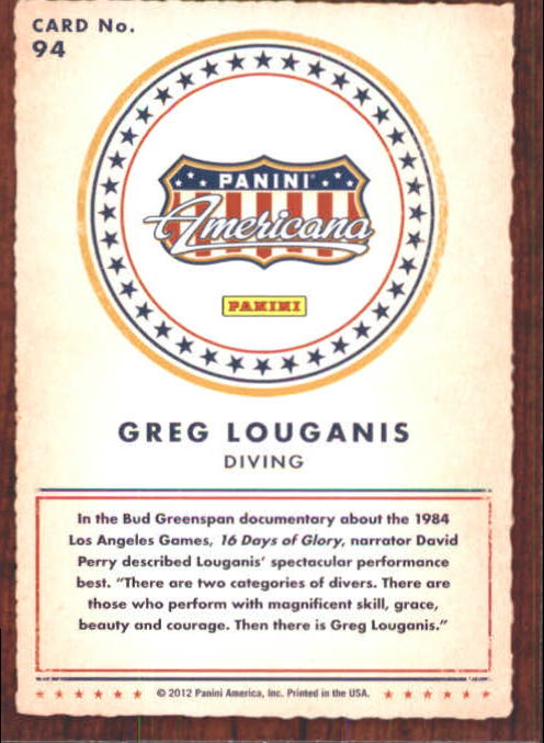 2012 Americana Heroes and Legends #94 Greg Louganis back image