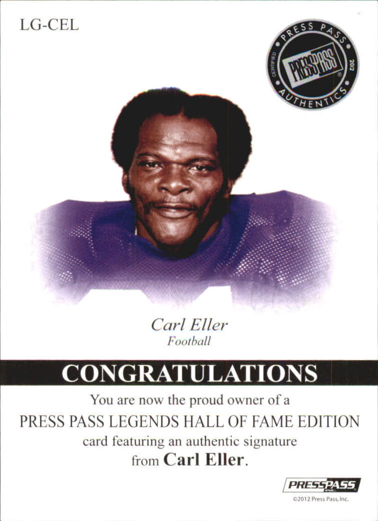 2012 Press Pass Legends Hall of Fame Red #LGCE Carl Eller/50 back image