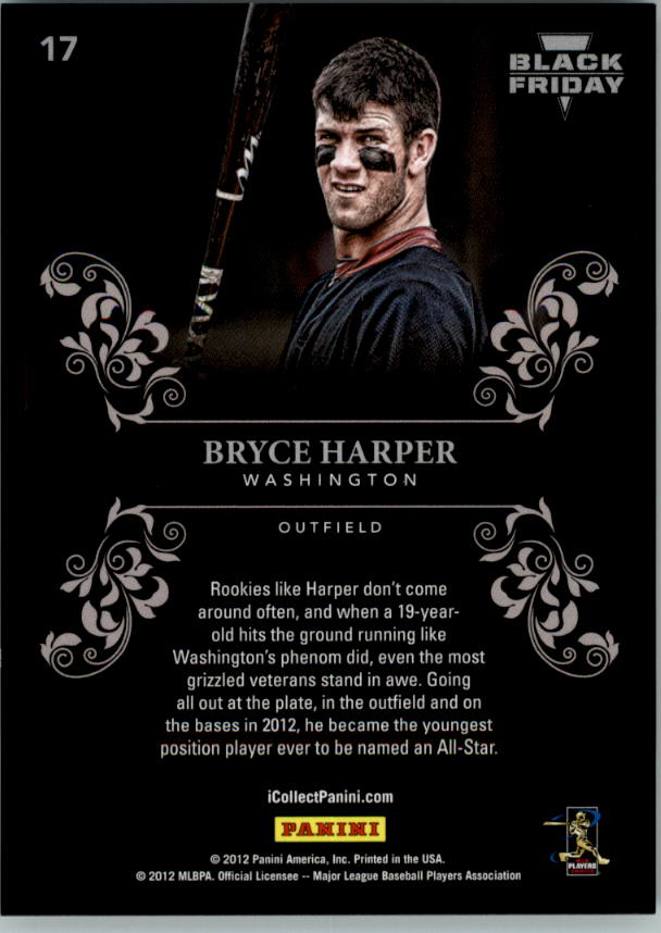 2012 Panini Black Friday Black Holofoil #17 Bryce Harper