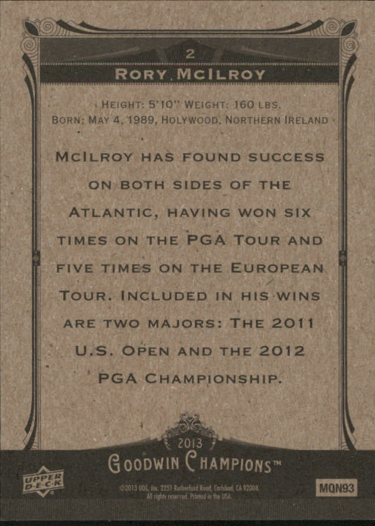2013 Upper Deck Goodwin Champions #2A Rory McIlroy