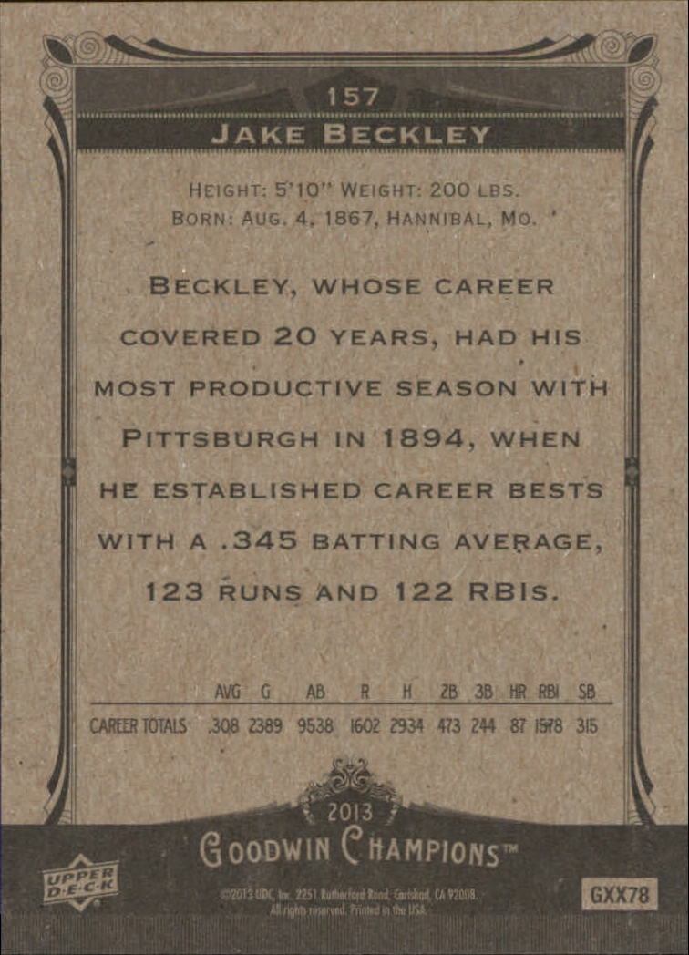 2013 Upper Deck Goodwin Champions #157 Jake Beckley SP back image
