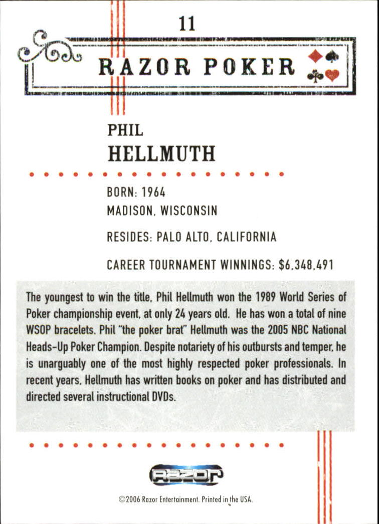2006 Razor Poker #11 Phil Hellmuth back image