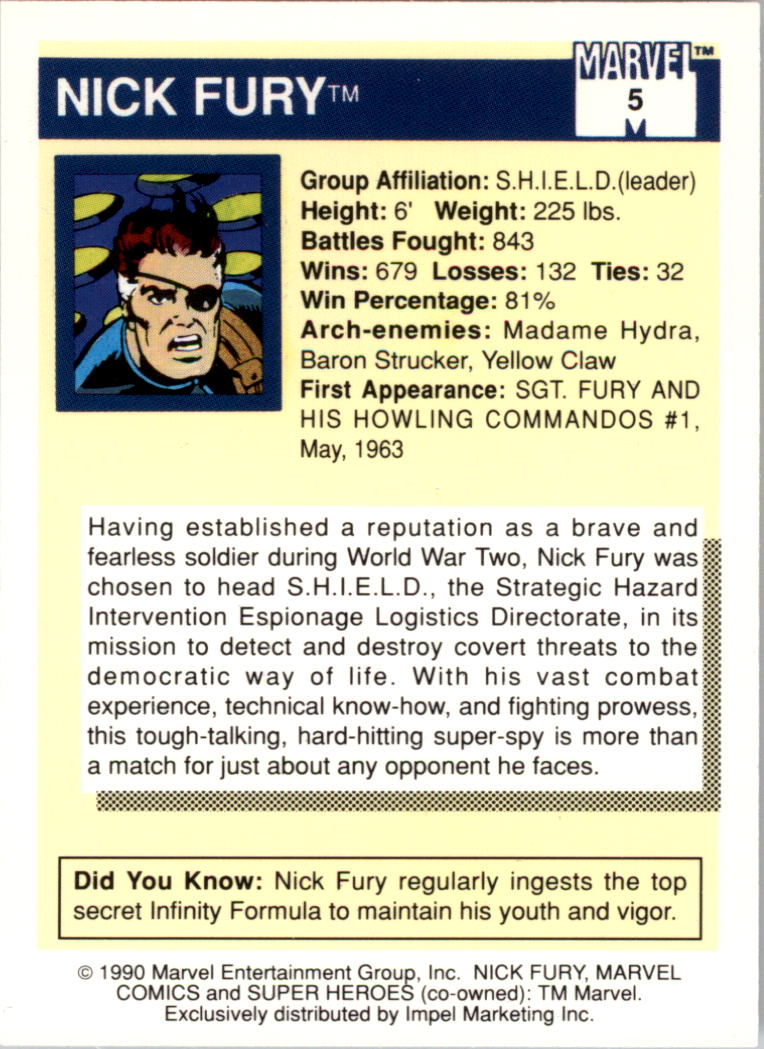 1990 Marvel Universe I #5 Nick Fury back image