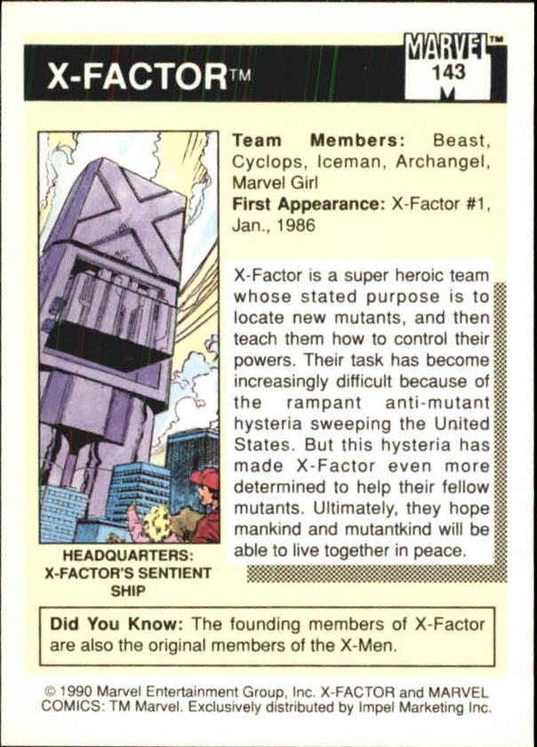 1990 Marvel Universe I #143 X-Factor back image