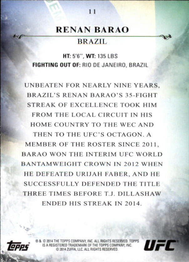 2014 Topps UFC Bloodlines #11 Renan Barao