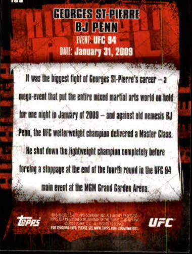 2010 Topps UFC #183 Georges St-Pierre/BJ Penn back image