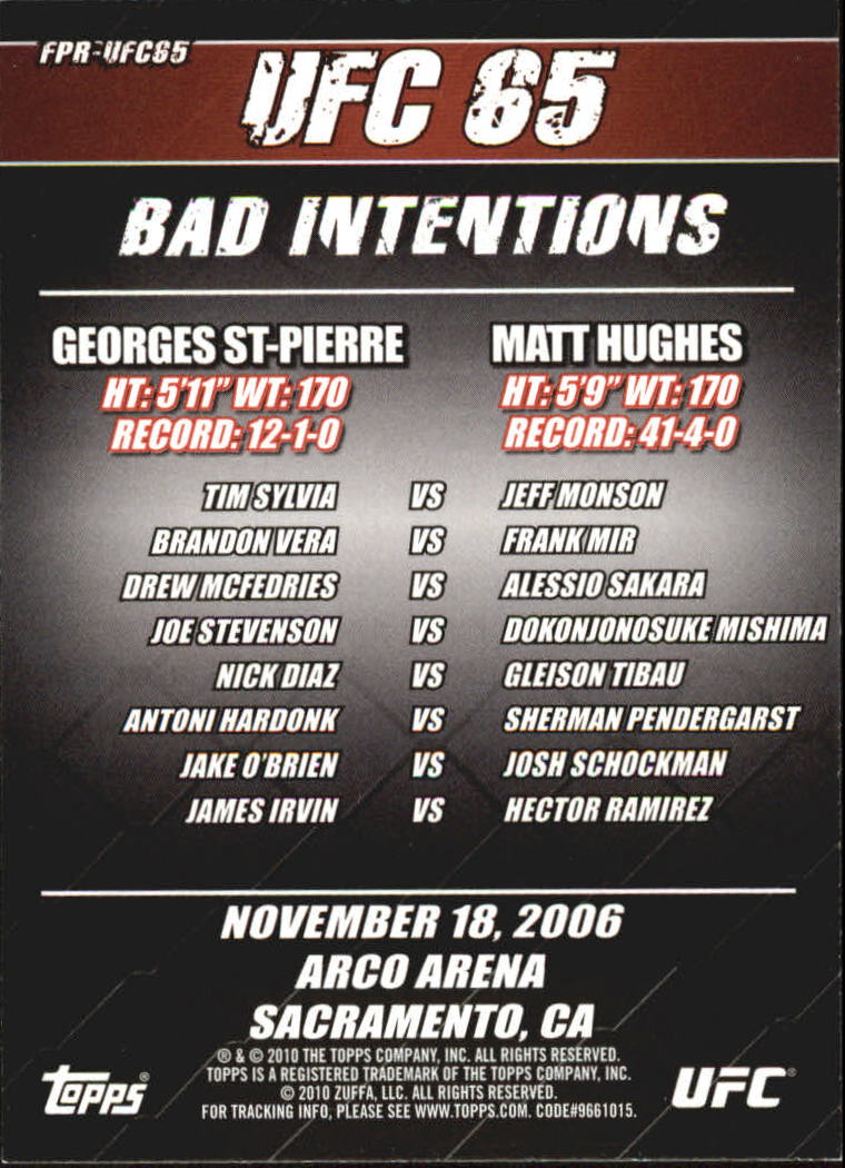 2010 Topps UFC Fight Poster #UFC65 UFC 65/Matt Hughes/Georges St-Pierre/Tim Sylvia/Jeff Monson back image