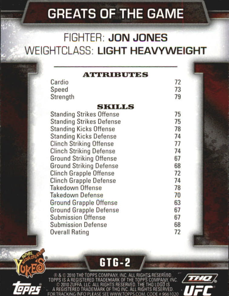 2010 Topps UFC Greats of the Game #GTG2 Jon Jones