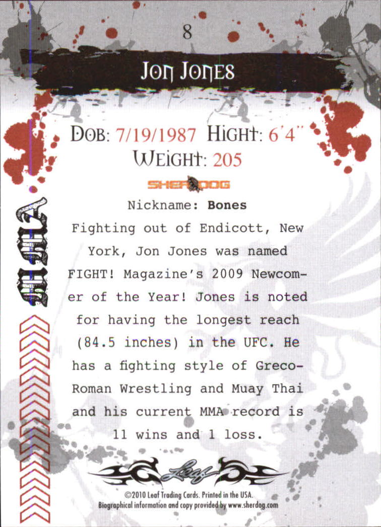 2010 Leaf MMA #8 Jon Jones back image