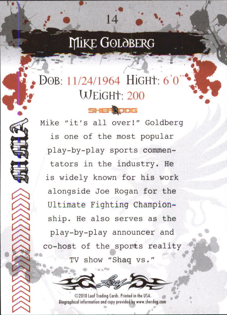 2010 Leaf MMA #14 Mike Goldberg