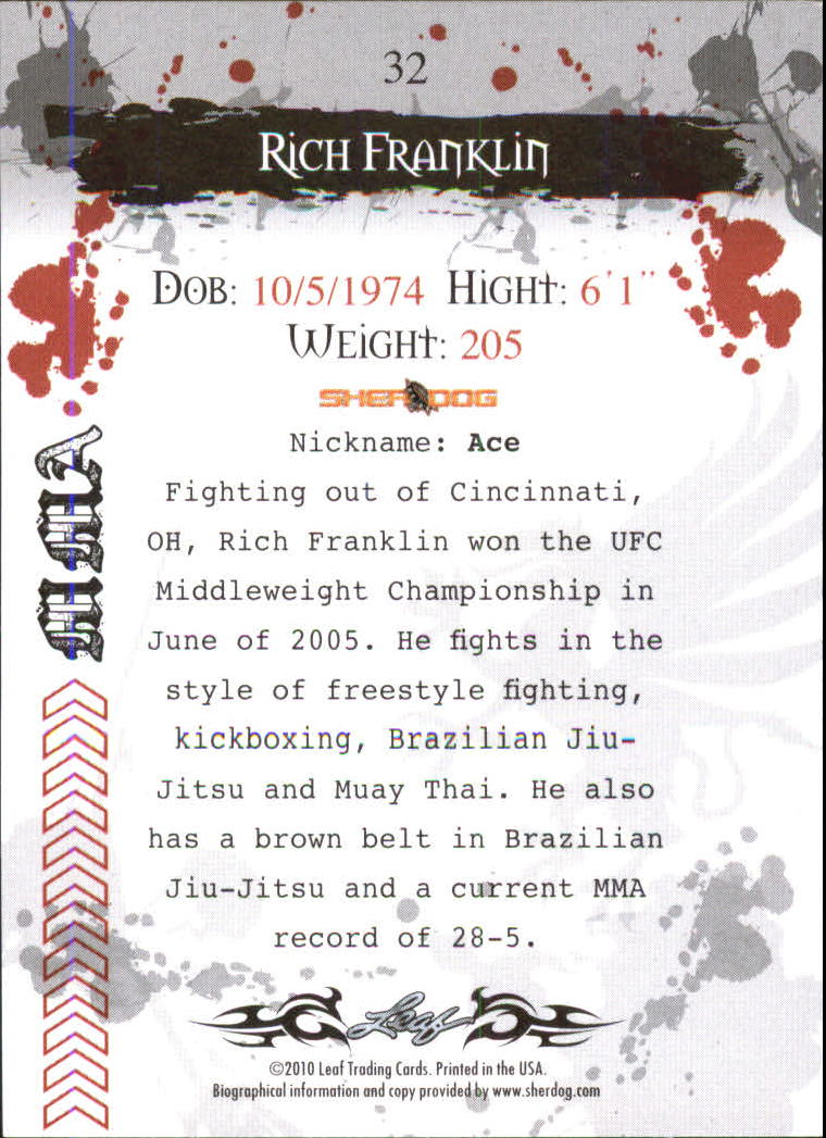2010 Leaf MMA #32 Rich Franklin back image