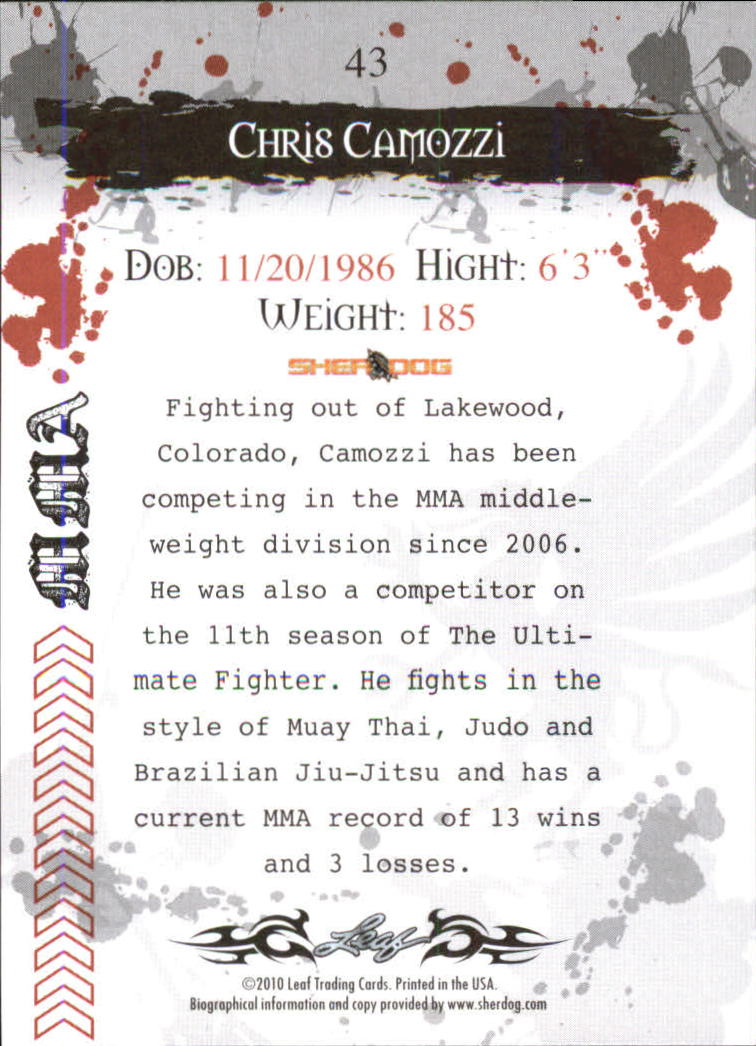 2010 Leaf MMA #43 Chris Camozzi back image