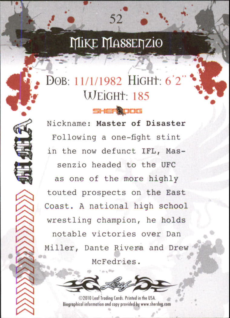 2010 Leaf MMA #52 Mike Massenzio back image