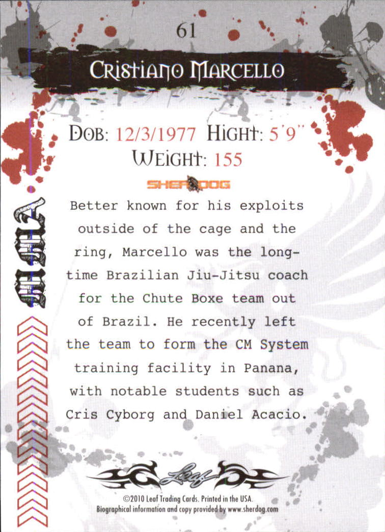 2010 Leaf MMA #61 Cristiano Marcello back image