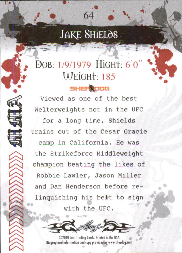 2010 Leaf MMA #64 Jake Shields back image