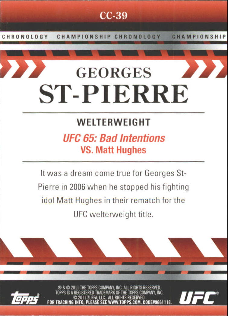 2011 Topps UFC Title Shot Championship Chronology #CC39 Georges St-Pierre