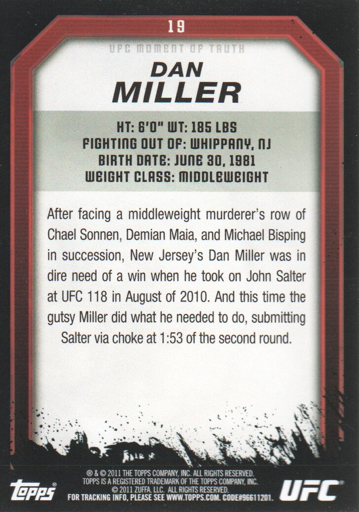2011 Topps UFC Moment of Truth #19 Dan Miller back image