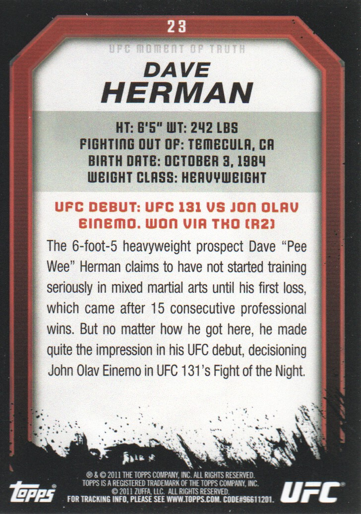 2011 Topps UFC Moment of Truth #23 Dave Herman back image