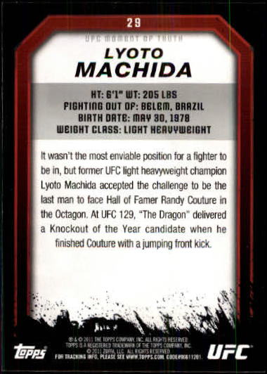2011 Topps UFC Moment of Truth #29 Lyoto Machida back image